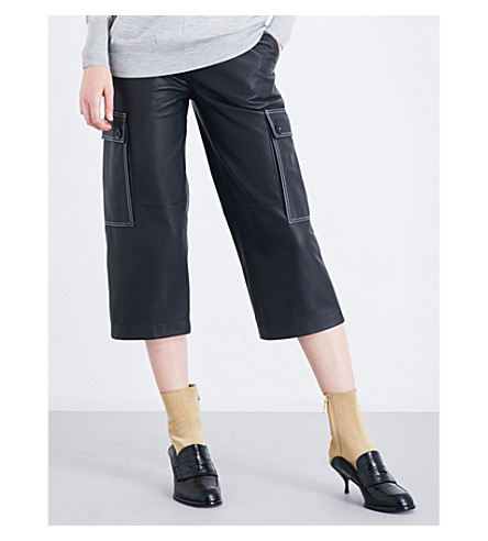 LOEWE Wide cropped high-rise leather trousers (Black