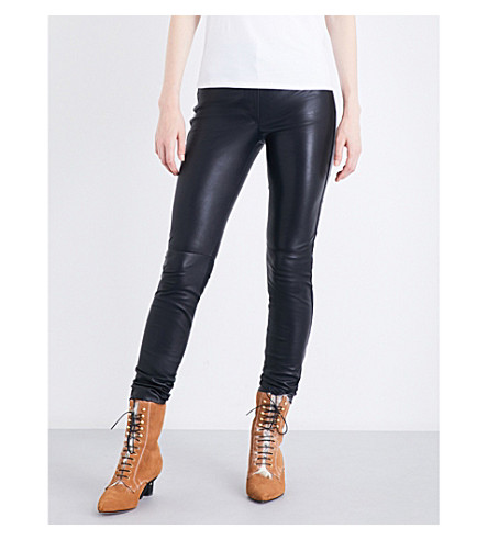 LOEWE Skinny high-rise leather trousers (Black