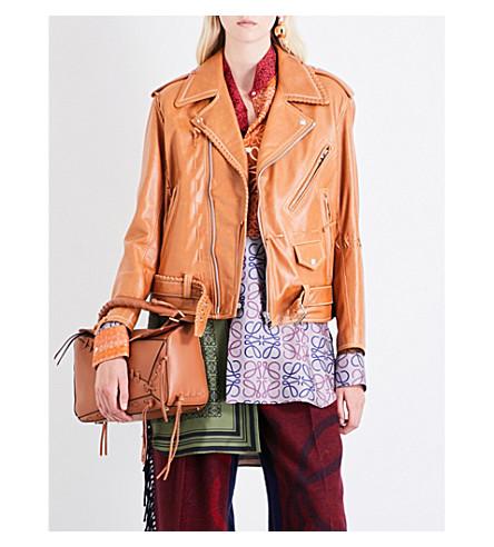 LOEWE Oversized leather biker jacket (Tan