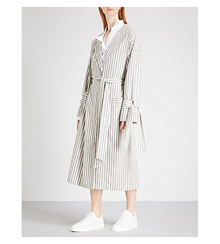 LOEWE 条纹棉风衣外套 (灰/白