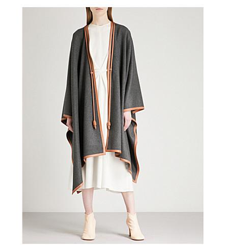 LOEWE Wool-blend blanket cape (Grey/brown