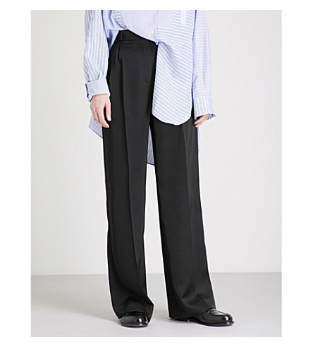 LOEWE Wide-leg satin trousers (Black