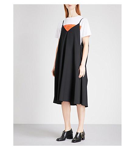 LOEWE Sleeveless V-neck wool trapeze dress (Black
