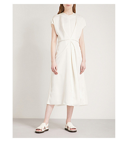 LOEWE Front-pleat satin dress (White