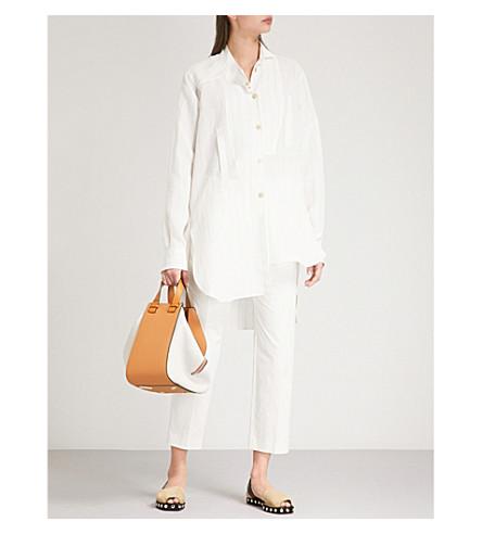 LOEWE Pinstriped linen-blend shirt (White+ash