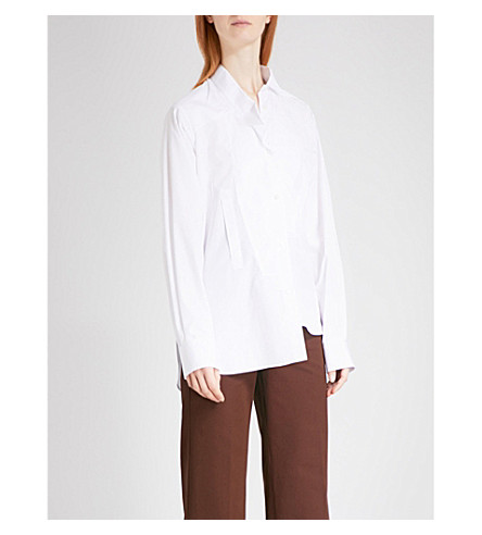LOEWE Oversized asymmetric cotton shirt (White