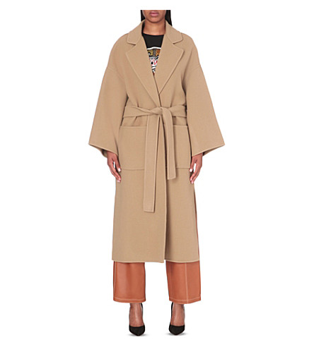 LOEWE Oversized wool and cashmere-blend wrap coat (Camel
