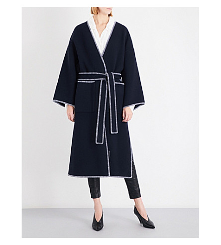 LOEWE Stitched wool and cashmere-blend coat (Navy+blue
