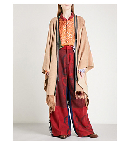 LOEWE Anagram-print wool and cashmere cape (Light brown