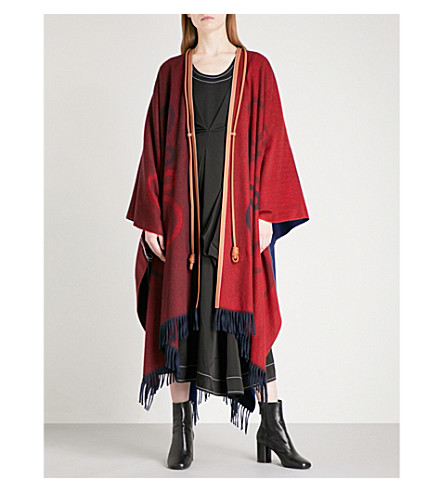 LOEWE Anagram-print wool and cashmere cape (Red navy