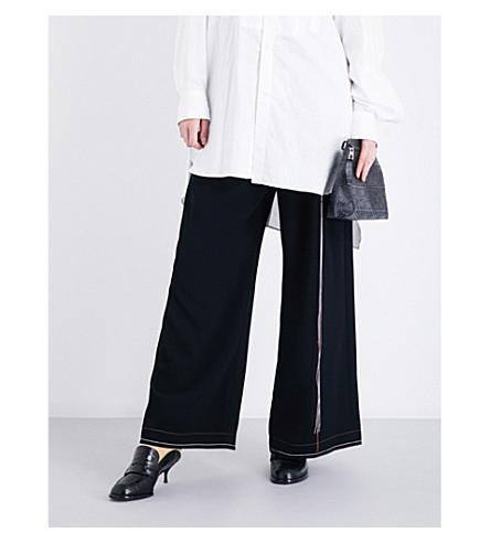 LOEWE Wide-leg crepe trousers (Black