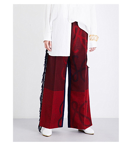 LOEWE Wide-leg wool and cashmere-blend trousers (Navy/red