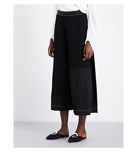 LOEWE Contrast-stitch wide cropped high-rise crepe culottes (Black