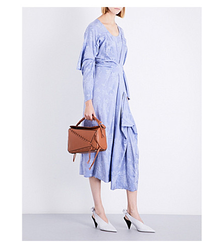 LOEWE Leg of Mutton-sleeve floral-jacquard dress (Light+blue