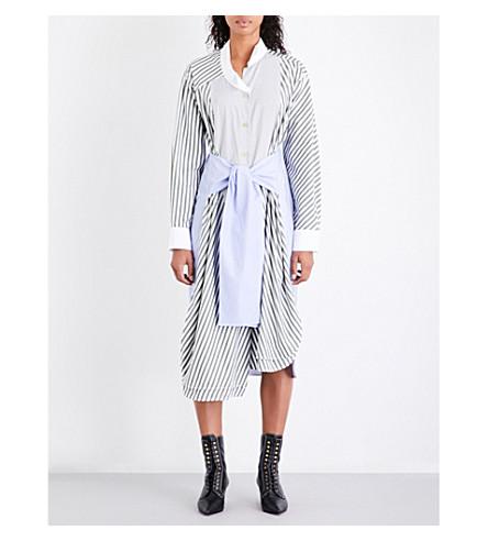 LOEWE Striped self-tie cotton-poplin shirt dress (Khaki/white/blue