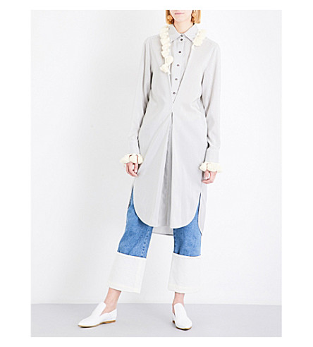 LOEWE Pom-pom silk shirt dress (Green/white