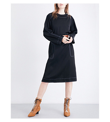 LOEWE Contrast-stitch satin dress (Black