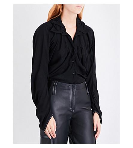 LOEWE Draped woven shirt (Black