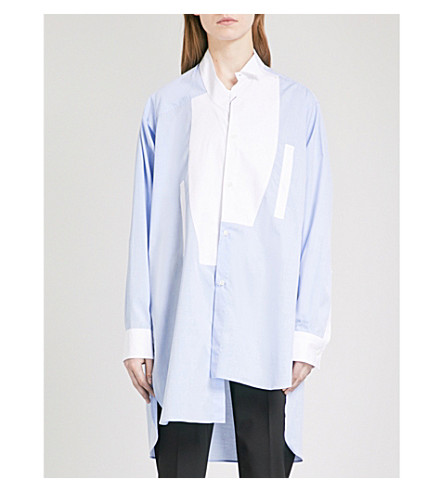 LOEWE Contrast-bib asymmetric cotton-poplin shirt (Baby+blue/white
