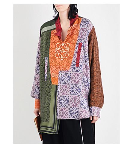 LOEWE Patchwork monogram-print oversized silk-twill shirt (Multicolour