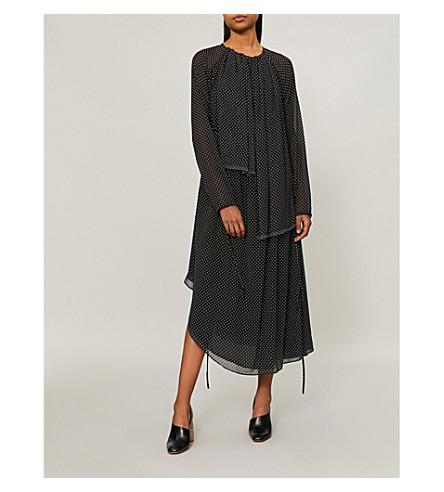 LOEWE 圆点花纹雪纺连衣裙 (黑色/白色