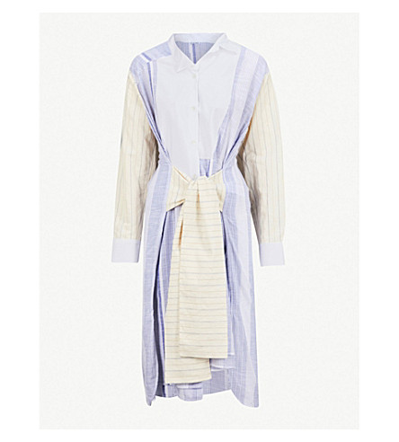 LOEWE Patchwork-stripe cotton dress (Blue/white