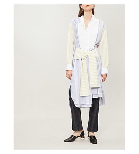 LOEWE 拼贴条纹棉连衣裙 (蓝色/白色