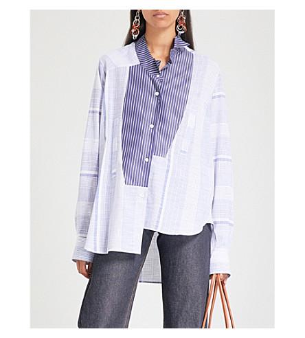 LOEWE 不对称条纹棉质衬衫 (蓝色/白色