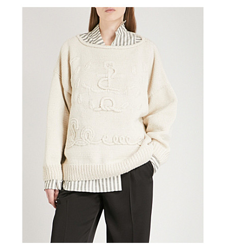LOEWE Anchor-embroidered cashmere jumper (Off-white