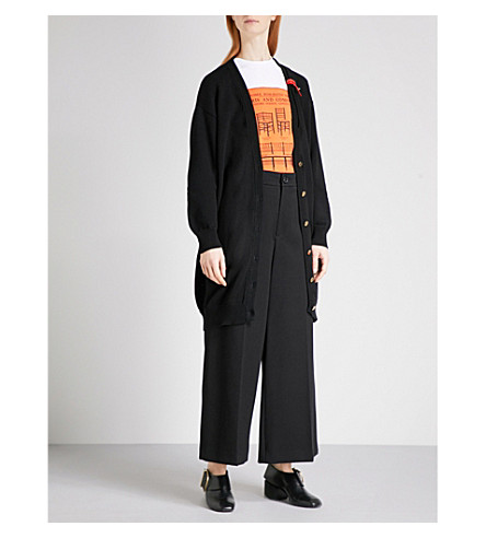 LOEWE Leather band-detail oversized cotton-blend cardigan (Black