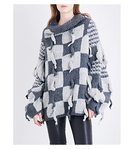 LOEWE Check-patterned chunky-knitted wool and alpaca-blend jumper (Dark+grey/light+grey
