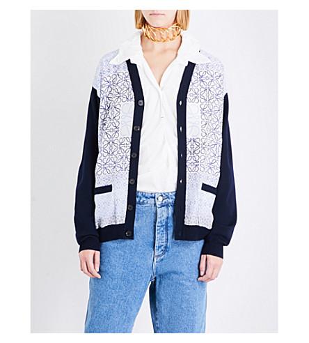 LOEWE Anagram-print wool cardigan (Navy+blue