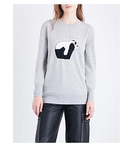LOEWE Panda-knitted wool jumper (Grey