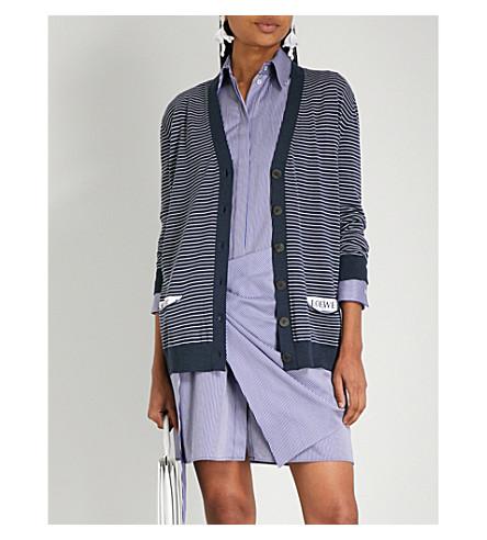 LOEWE 条纹羊毛混纺开襟衫 (海军/白色