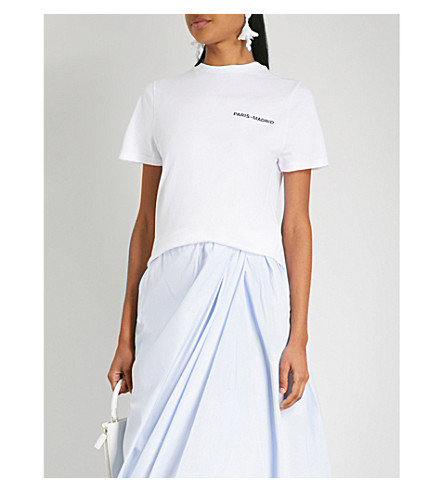 LOEWE 徽标打印平纹针织棉 T 恤 (白色