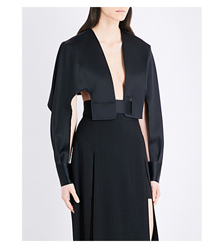 CHALAYAN Backless satin jacket (Black