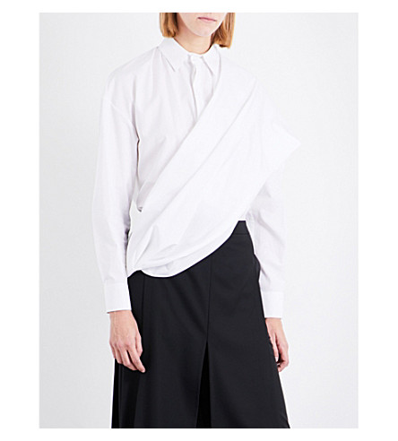 CHALAYAN Draped-overlay cotton shirt (White