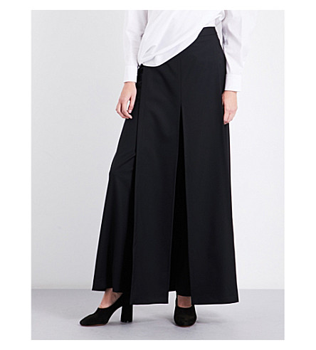CHALAYAN Wide-leg wool trousers (Black