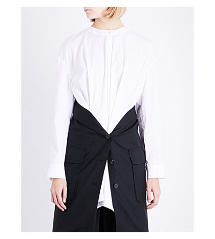 CHALAYAN Layered cotton-poplin and wool shirt (Black/white