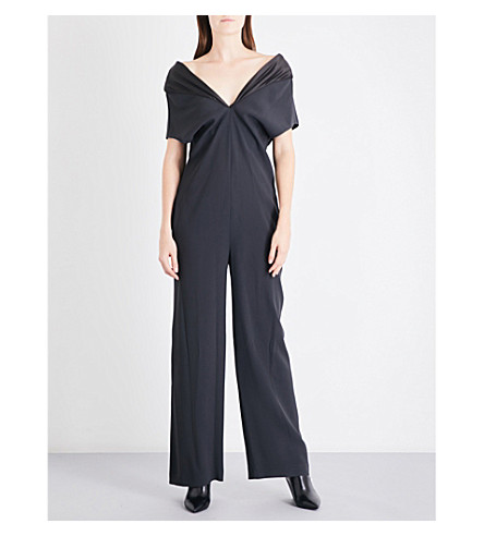 CHALAYAN V-neck crepe jumpsuit (Anthracite