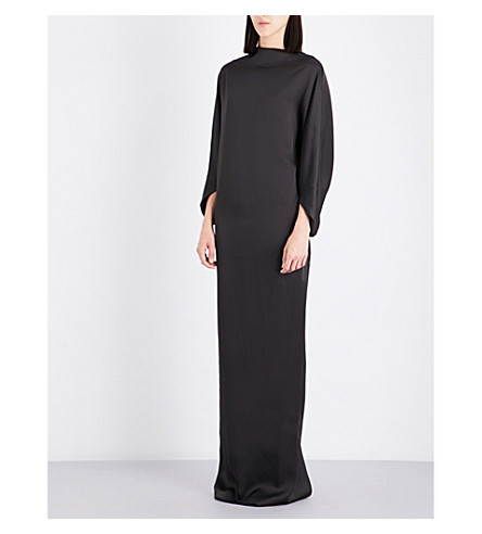 CHALAYAN Draped satin gown (Anthracite