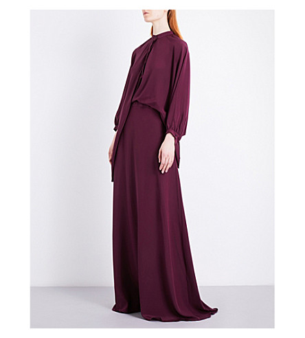 CHALAYAN Draped-panel silk-crepe de chine gown (Berry