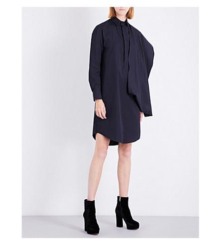 CHALAYAN Draped-panel cotton shirt dress (Anthracite