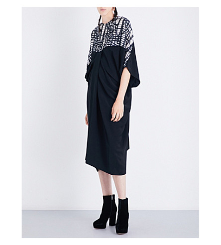 CHALAYAN Draped woven midi dress (Map+jacquard/black