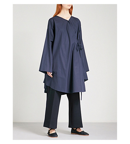 CHALAYAN Oversized cotton-poplin shirt dress (Midnight