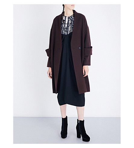 CHALAYAN Oversized wool-blend coat (Berry