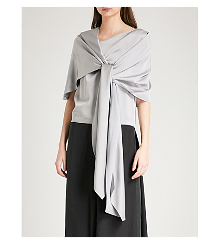CHALAYAN Draped crepe top (Platinum