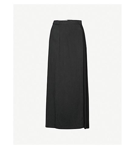 CHALAYAN Draped woven midi skirt (Black