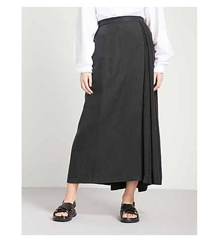 CHALAYAN Draped woven midi skirt (Black