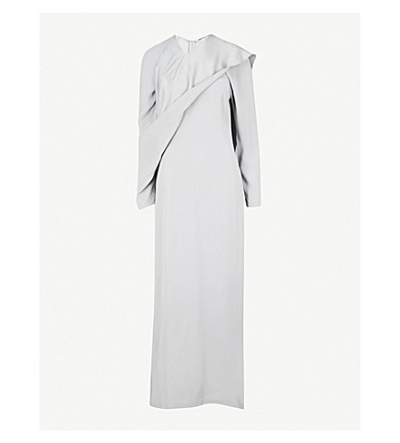 CHALAYAN Draped-panel crepe column gown (Platinum